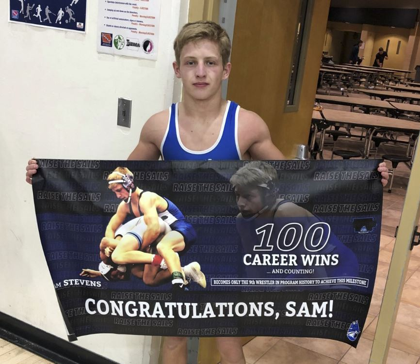Sam Stevens becomes CCA's 9th wrestler to record 100 career victories!