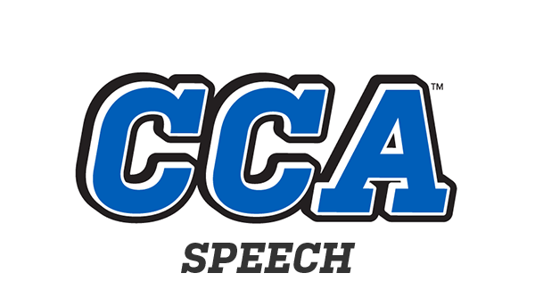 school logo with speech
