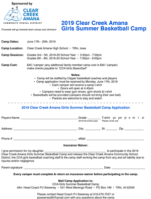 CCA Girls basketball camp