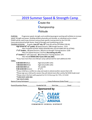 Speed and strength camp
